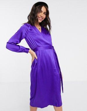 Фиолетовое атласное платье с запахом -Фиолетовый Closet London