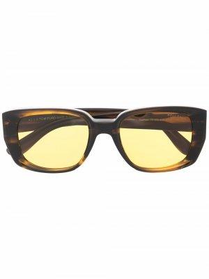 Солнцезащитные очки Raphael в квадратной оправе TOM FORD Eyewear. Цвет: коричневый