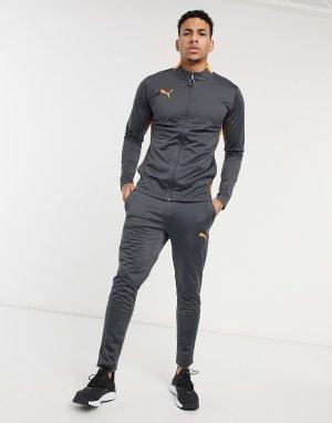 Спортивный костюм в сером и оранжевом цвете Football-Серый Puma