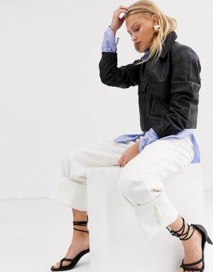 Кожаная куртка с заклепками Femme-Черный Selected