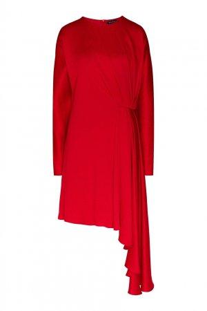 Шелковое платье с присборенной деталью Chapurin. Цвет: красный