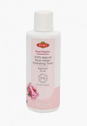 Тоник для лица Otaci природная вода из экстракта дамасской розы. Не содержит парабены, отдушки, красители.  Rose water spray, hydrate, 150 мл.. Цвет: розовый