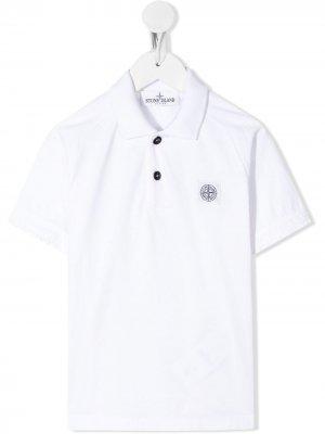 Рубашка-поло с нашивкой-логотипом Stone Island Junior. Цвет: белый
