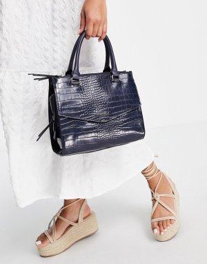 Темно-синяя сумка с ручками и эффектом крокодиловой кожи Mia-Темно-синий Fiorelli