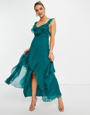 Платье макси с оборками и асимметричным подолом -Multi ASOS DESIGN