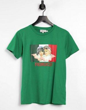 Зеленая футболка с логотипом и принтом в виде ангелов-гонщиков от комплекта -Зеленый цвет Fiorucci