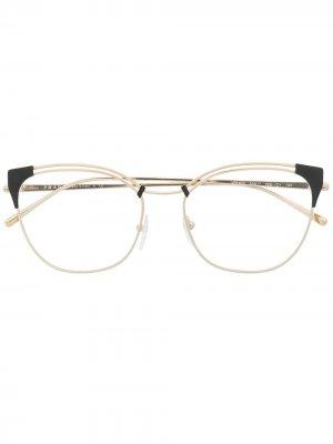 Очки в оправе кошачий глаз Prada Eyewear. Цвет: золотистый