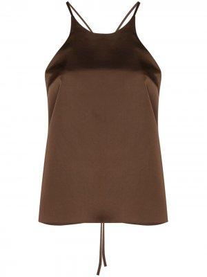 Топ с открытой спиной и завязками LVIR. Цвет: коричневый