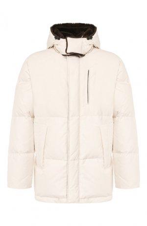 Пуховая куртка с меховой отделкой Brioni. Цвет: белый