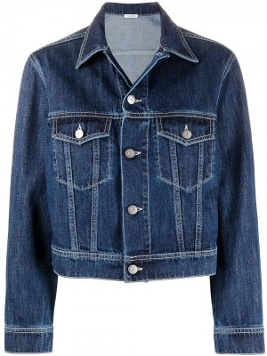 Укороченная джинсовая куртка P.A.R.O.S.H.. Цвет: синий