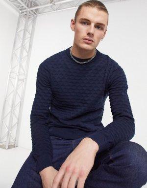 Темно-синий пуловер с круглым вырезом Jack & Jones