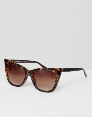 Солнцезащитные очки кошачий глаз в черепаховой оправе AJ Morgan. Цвет: коричневый