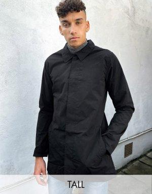 Черный макинтош с воротником-стойкой и подкладкой Tall French Connection