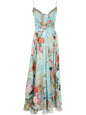 Платье с цветочным принтом Camilla. Цвет: синий