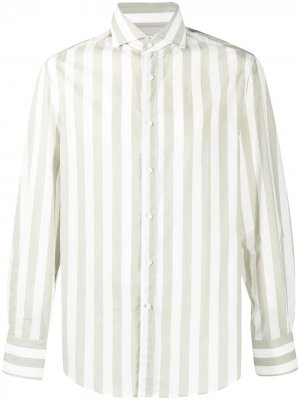 Striped button-up shirt Brunello Cucinelli. Цвет: зеленый