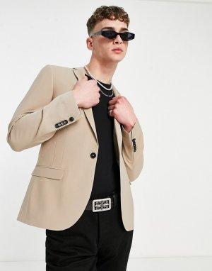 Светло-бежевый пиджак из смесовой шерсти -Нейтральный Twisted Tailor