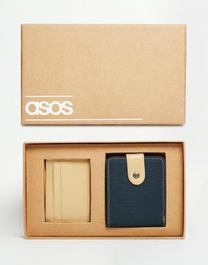 Подарочный набор из бумажника и визитницы под кожу ASOS. Цвет: бежевый