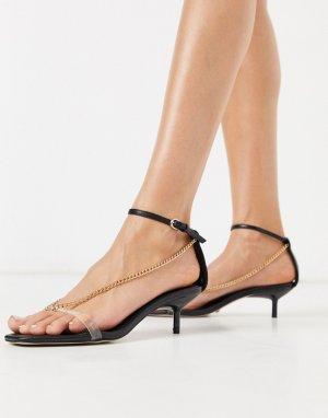 Черные босоножки на каблуке с цепочками -Черный Topshop
