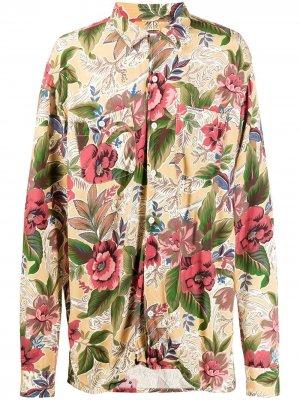 Рубашка с цветочным принтом Engineered Garments. Цвет: желтый