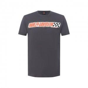 Хлопковая футболка Exclusive for Moscow Harley-Davidson. Цвет: серый