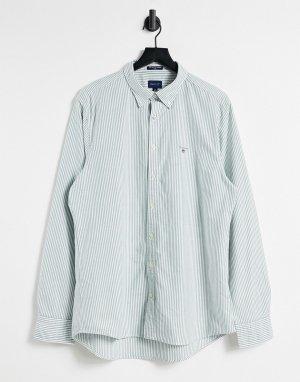 Оксфордская рубашка на пуговицах приталенного кроя в зеленую полоску с логотипом -Зеленый Gant