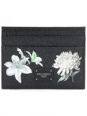 Визитница с цветочным дизайном Dolce & Gabbana. Цвет: чёрный