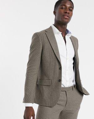 Коричневый приталенный пиджак с мелким узором гусиная лапка Moss London-Коричневый цвет BROS