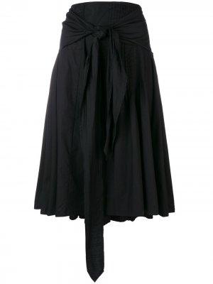 Плиссированная юбка с завязкой на поясе Dries Van Noten Pre-Owned. Цвет: черный