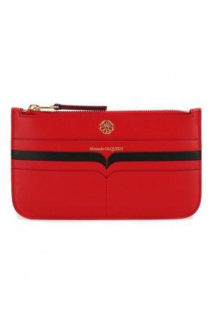 Кожаный футляр для документов Alexander McQueen. Цвет: красный