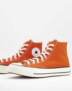 Красно-оранжевые высокие кроссовки Chuck 70-Оранжевый цвет Converse