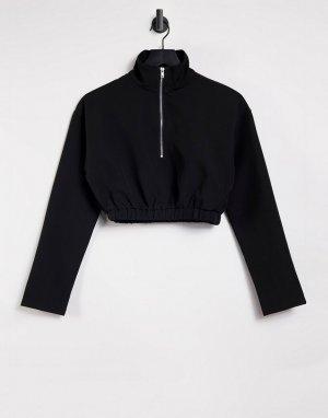 Черный свитшот с короткий молнией -Черный цвет Missguided