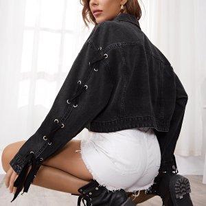 Джинсовая куртка SHEIN. Цвет: чёрный