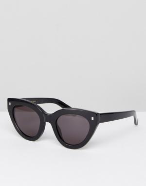 Черные солнцезащитные очки кошачий глаз Neko Monokel Eyewear. Цвет: черный