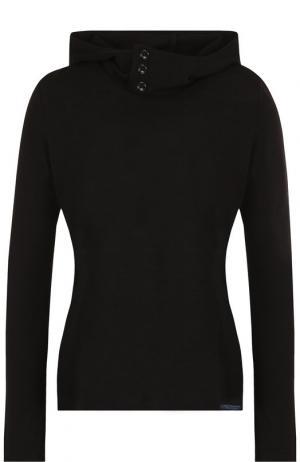 Однотонный пуловер с капюшоном Yohji Yamamoto. Цвет: черный