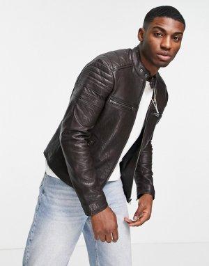 Темно-коричневая кожаная куртка Barneys-Коричневый цвет Barneys Originals