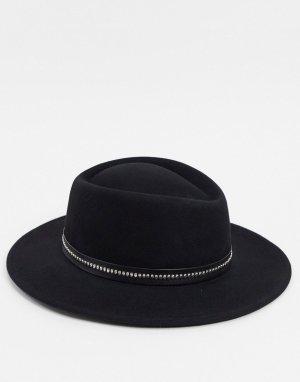 Черная шляпа с лентой -Черный ASOS DESIGN