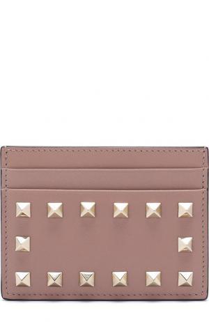 Кожаный футляр для кредитных карт Garavani Rockstud Valentino. Цвет: бежевый