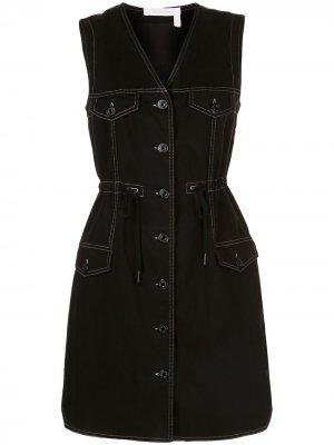 Джинсовое платье с контрастной строчкой See by Chloé. Цвет: черный