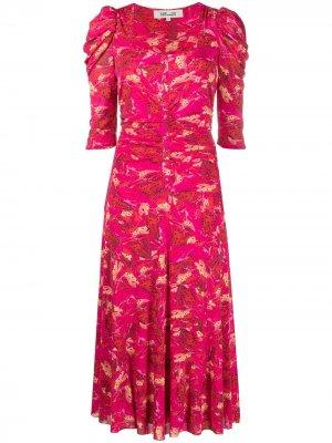 Платье миди с квадратным вырезом и принтом DVF Diane von Furstenberg. Цвет: красный