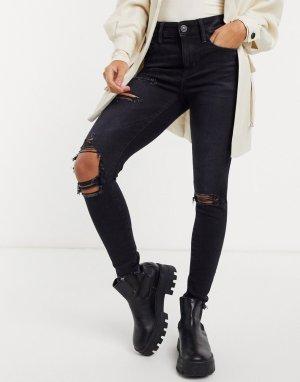 Черные зауженные джинсы с завышенной талией и рваными коленями -Черный American Eagle
