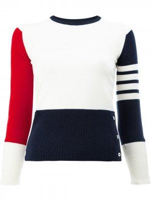 Пуловер с контрастными полосками Thom Browne. Цвет: 960 rwbwht