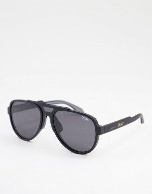 Солнцезащитные очки-авиаторы в стиле унисекс крупной матовой оправе черного цвета с затемненными поляризованными линзами Quay Wild Card-Черный цвет Australia