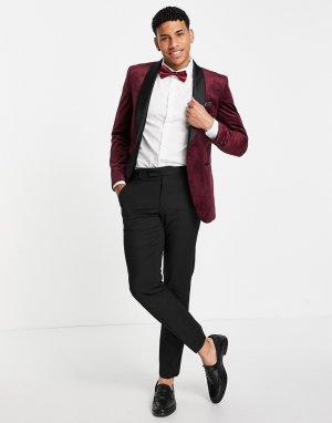 Бардовый бархатный блейзер Burton-Красный Burton Menswear