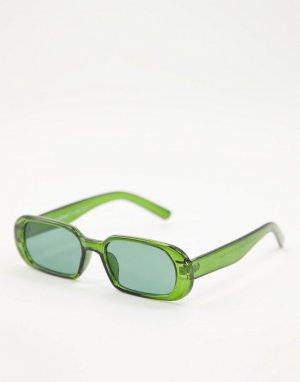Зеленые солнцезащитные очки в узкой прямоугольной оправе стиле унисекс -Зеленый цвет AJ Morgan