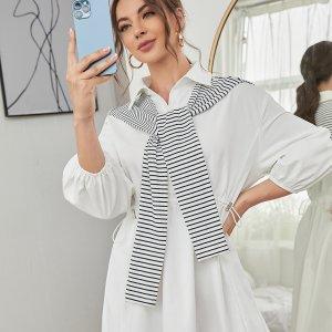 На кулиске Платье-рубашка с в полоску Шаль SHEIN. Цвет: белый