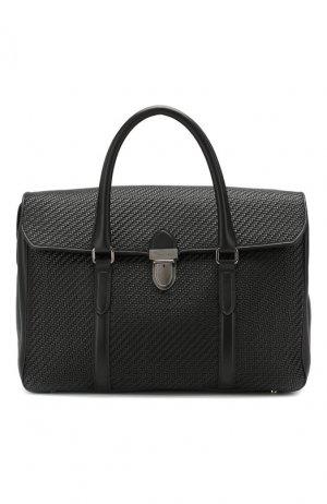 Кожаный портфель Pelletessuta Ermenegildo Zegna. Цвет: чёрный