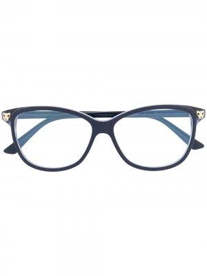 Очки в квадратной оправе Cartier. Цвет: синий