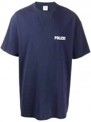 Футболка Polizei с круглым вырезом Vetements. Цвет: синий