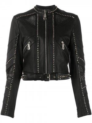 Укороченная байкерская куртка с заклепками Philipp Plein. Цвет: черный