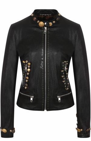 Приталенная кожаная куртка с воротником-стойкой Dolce & Gabbana. Цвет: черный